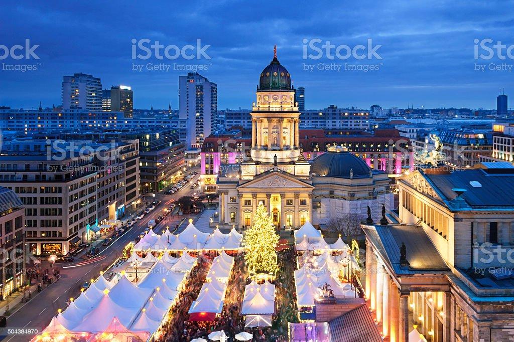 Aerial view onto Christmas market at Gendarmenmarkt square in Berlin stock photo