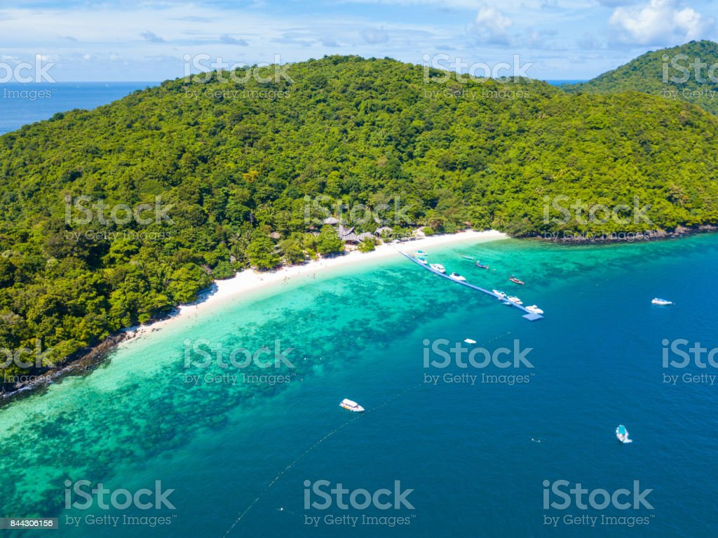 Aerial view or top view of tropical island beach with clear water at Banana beach stock photo