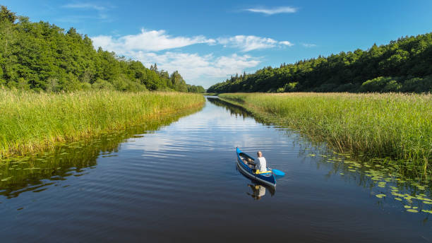 Aerial view over a canoe driven by a trolling motor. stock photo