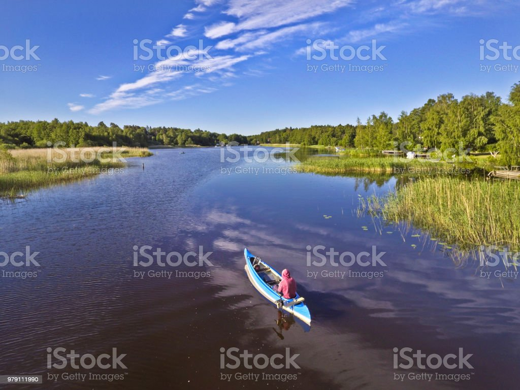 Aerial view over a canoe stock photo