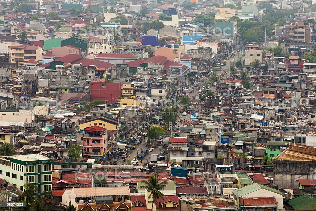Aerial view over a local neighbourhood in metropolitan Manila royalty-free stock photo
