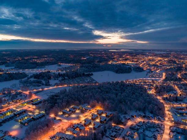 Aerial view over a small city stock photo