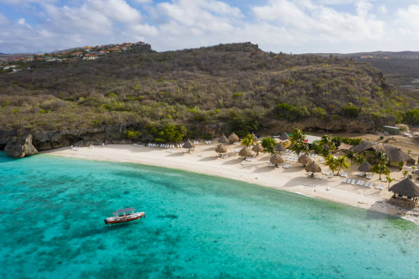 Aerial view over area Cas Abao Beach on the western side of  Curaçao/Caribbean /Dutch Antilles stock photo