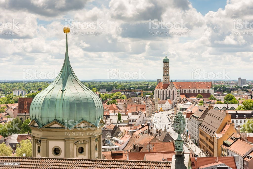 Aerial view over Augsburg stock photo