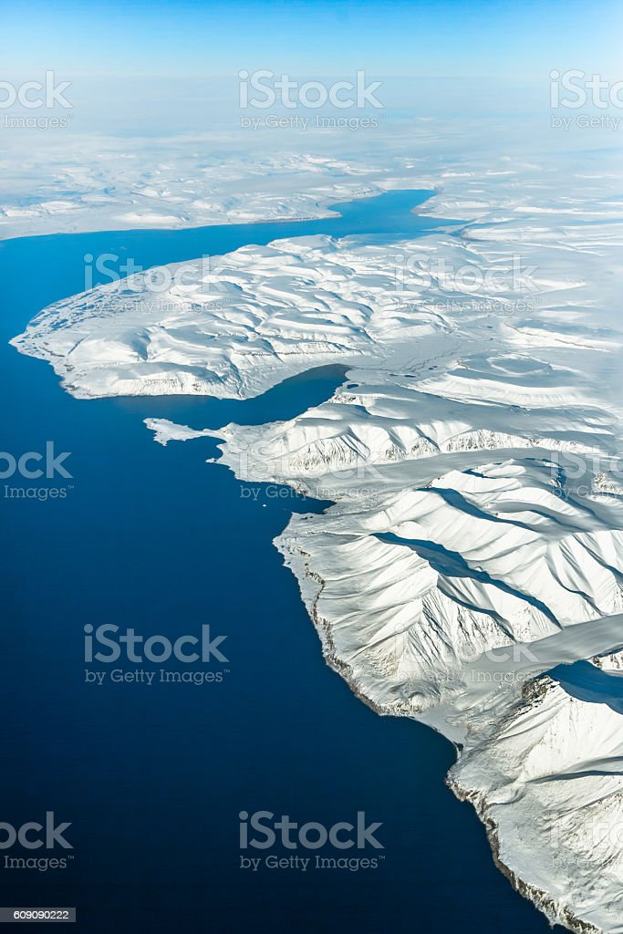 Aerial View over Baffin Bay stock photo