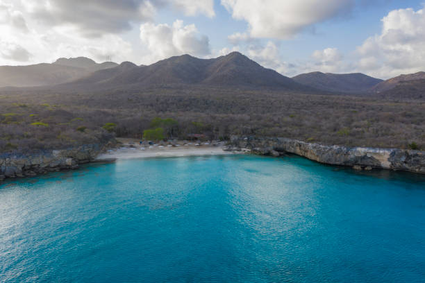 Aerial view over beach Klein Knip on the western side of  Curaçao/Caribbean /Dutch Antilles stock photo