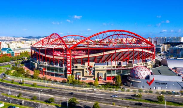 aerial view over benfica lisbon soccer stadium called estadio da luz - city of lisbon, portugal - november 5, 2019 - benfica imagens e fotografias de stock