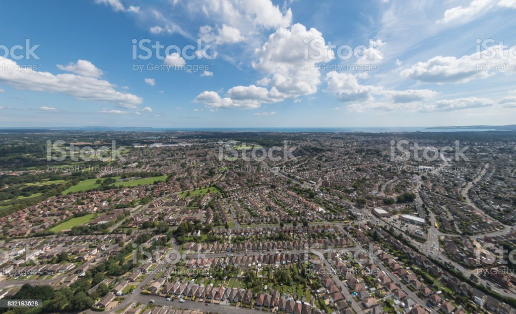 Aerial view over Bournemouth Pier and town centre stock photo