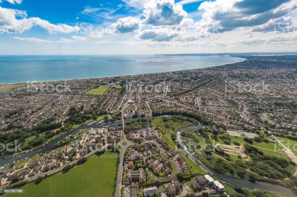 Aerial view over Bournemouth streets and town centre stock photo