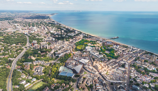 Aerial view over Bournemouth with beach and pier