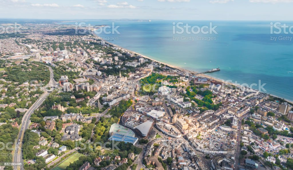 Aerial view over Bournemouth with beach and pier stock photo
