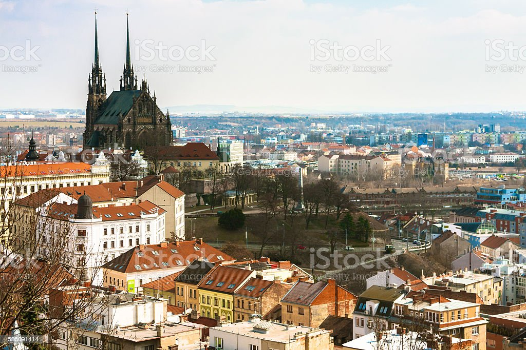 Aerial View over Brno stock photo