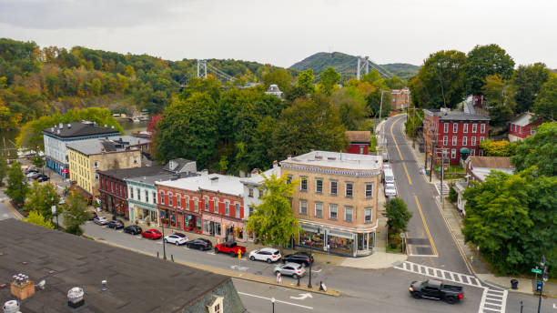 Aerial View Over Broadway Street South Kingston New York stock photo