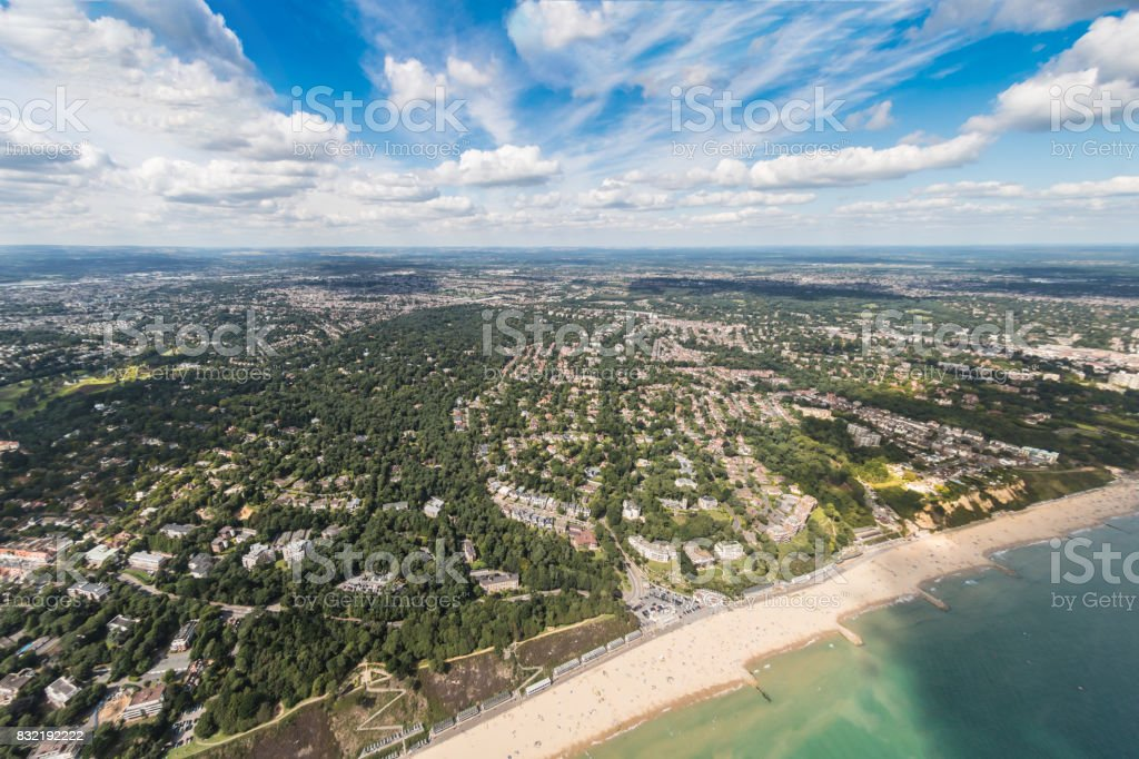 Aerial view over Canford Cliffs area of Poole stock photo