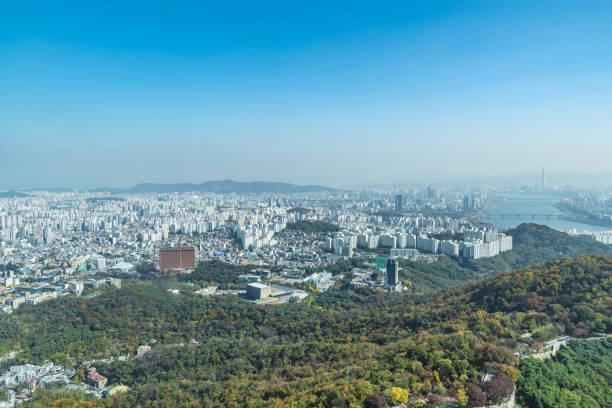 Aerial view over city of Seoul, South Korea stock photo