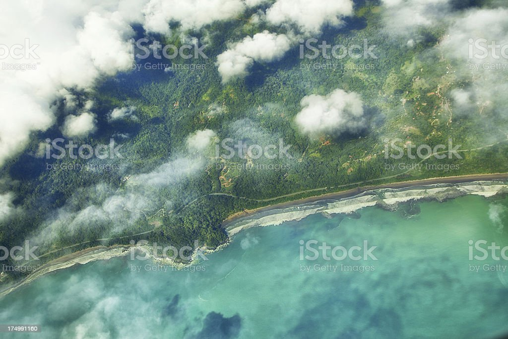 Aerial view over coastline stock photo