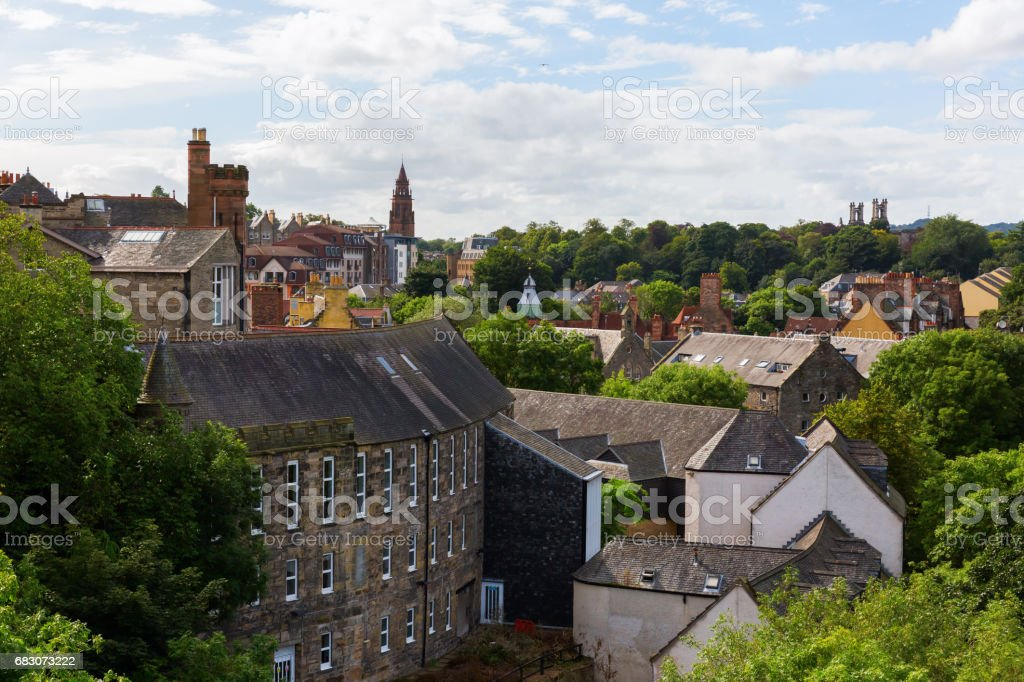 aerial view over Dean Village, Edinburgh, UK foto de stock royalty-free