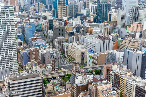 Aerial View Over Densely Populated Skyscrapers in Tokyo Japan