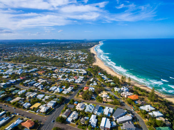 Aerial view over Dicky Beach Caloundra, Sunshine Coast, Australia