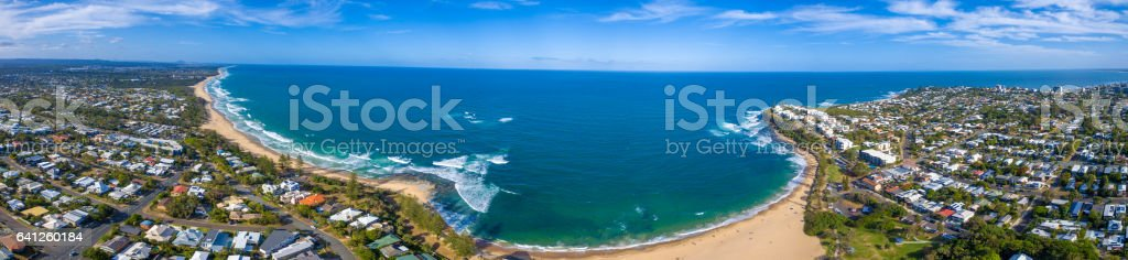 Aerial view over Dicky Beach Caloundra, Sunshine Coast, Australia stock photo
