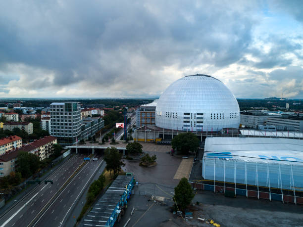 Aerial view over Ericsson Globe in Stockholm stock photo