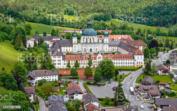 Photo of Aerial view over Ettal Abbey in Bavaria Germany