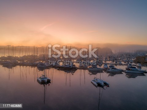 Aerial view over foggy bay in Sweden
