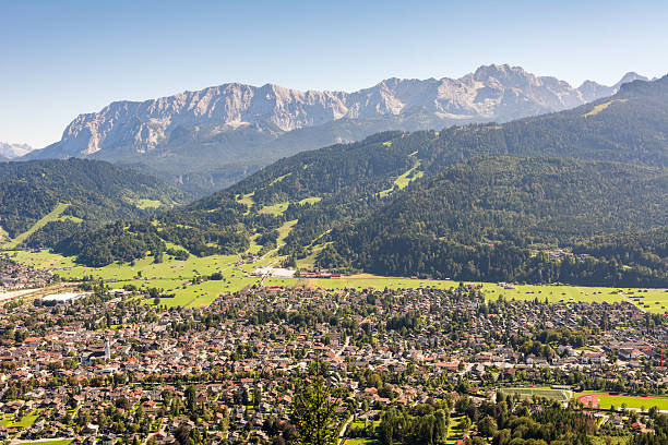 Aerial view over Garmisch in the alps of Bavaria – Foto