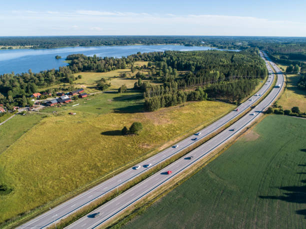 Aerial view over highway in Sweden stock photo