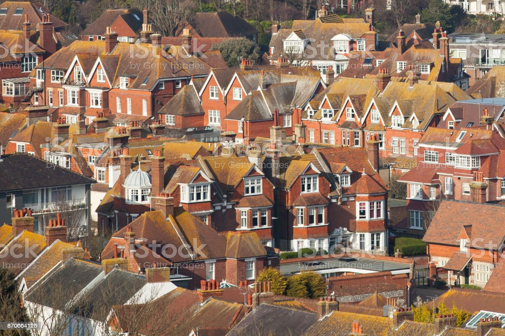 Aerial view over houses in Eastbourne UK stock photo