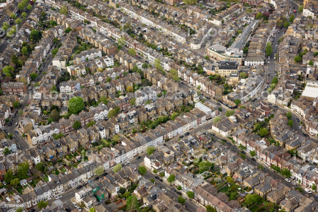 Aerial view over London terraced housing stock photo