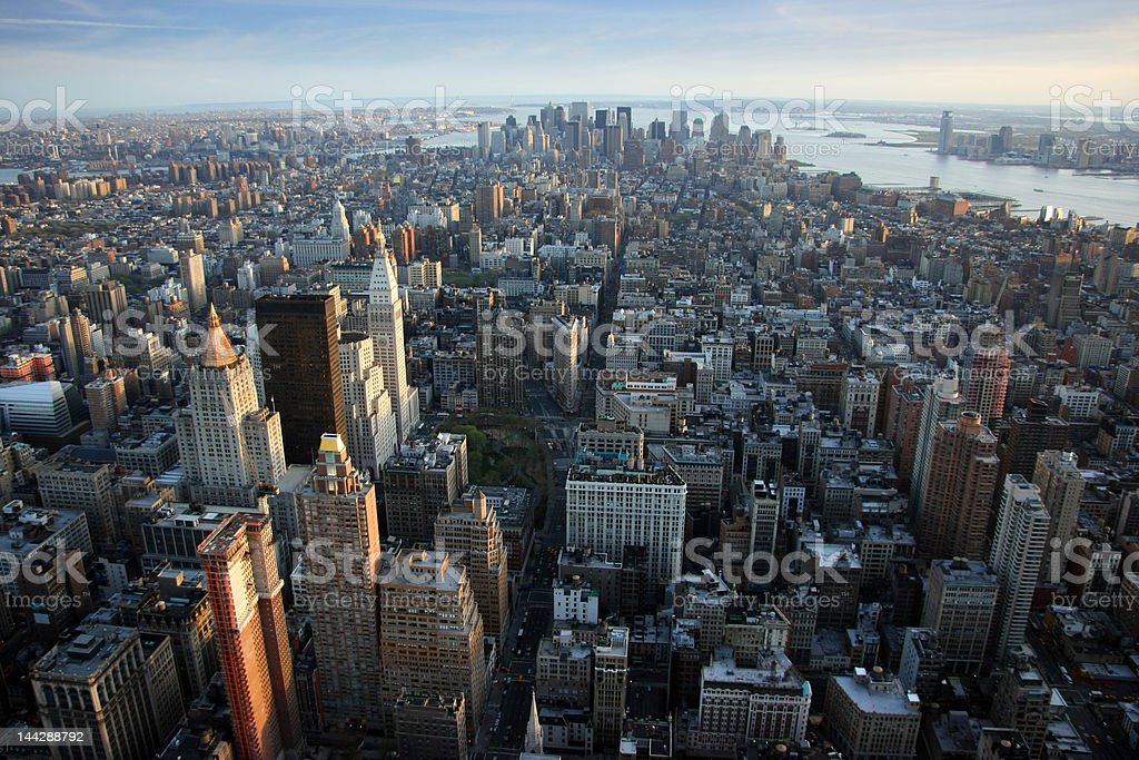 Aerial view over lower Manhattan, New York stock photo
