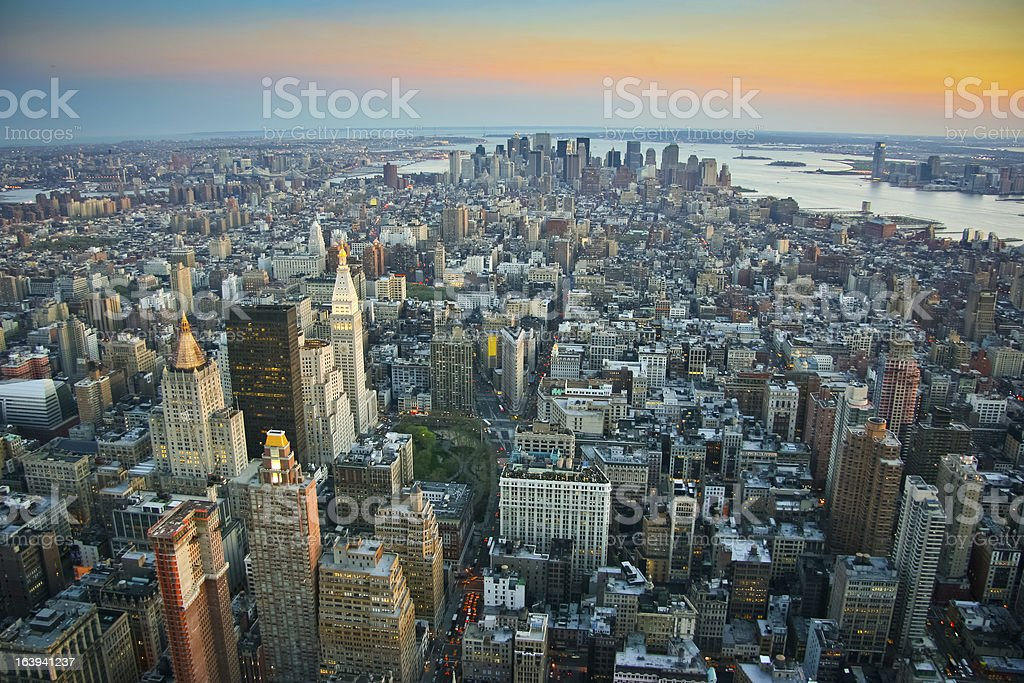 Aerial view over lower Manhattan New York royalty-free stock photo