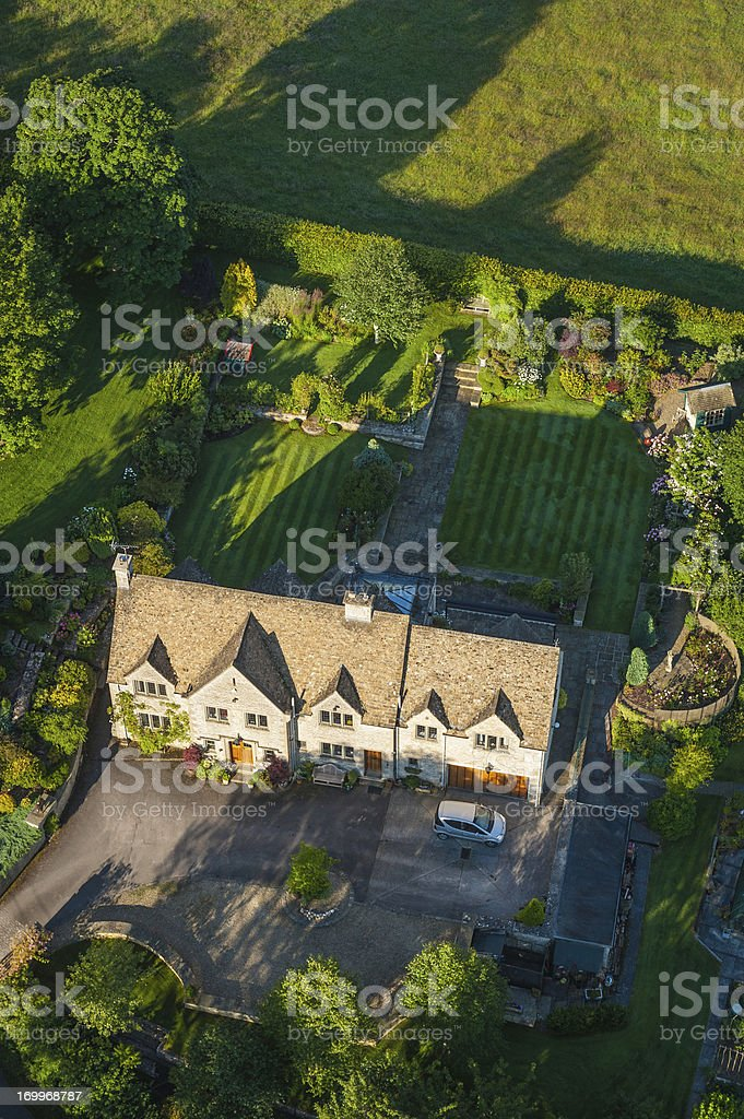 Aerial view over luxury country home and gardens stock photo