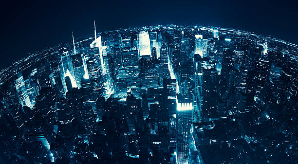 Aerial View over Manhattan Skyline in the night - NYC Aerial View over Manhattan Skyline in the night fish eye lens stock pictures, royalty-free photos & images