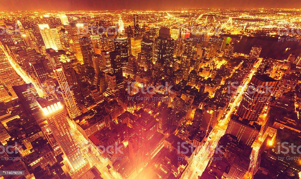Aerial View over Manhattan Skyline royalty-free stock photo