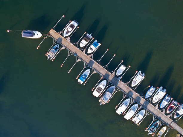 Aerial view over marina bay in Stockholm archipelago stock photo
