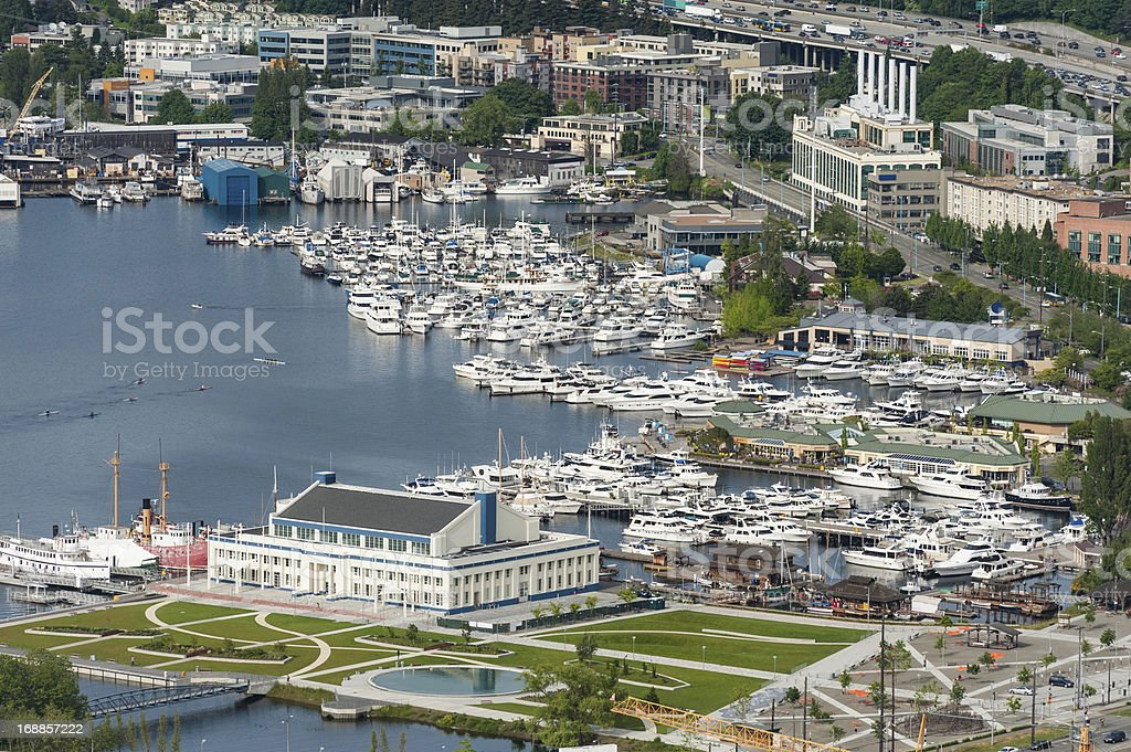 Aerial view over marina harbor Lake Union Seattle USA stock photo