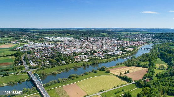 istock Aerial view over Marktheidenfeld and River Main, Bavaria, Germany 1276463367