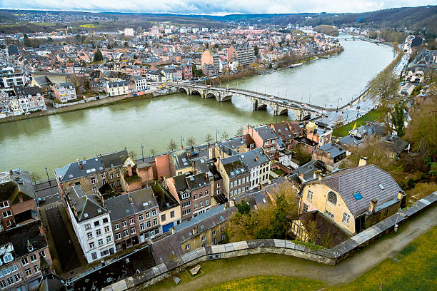 Aerial View over Namur Aerial View over Namur meuse river stock pictures, royalty-free photos & images