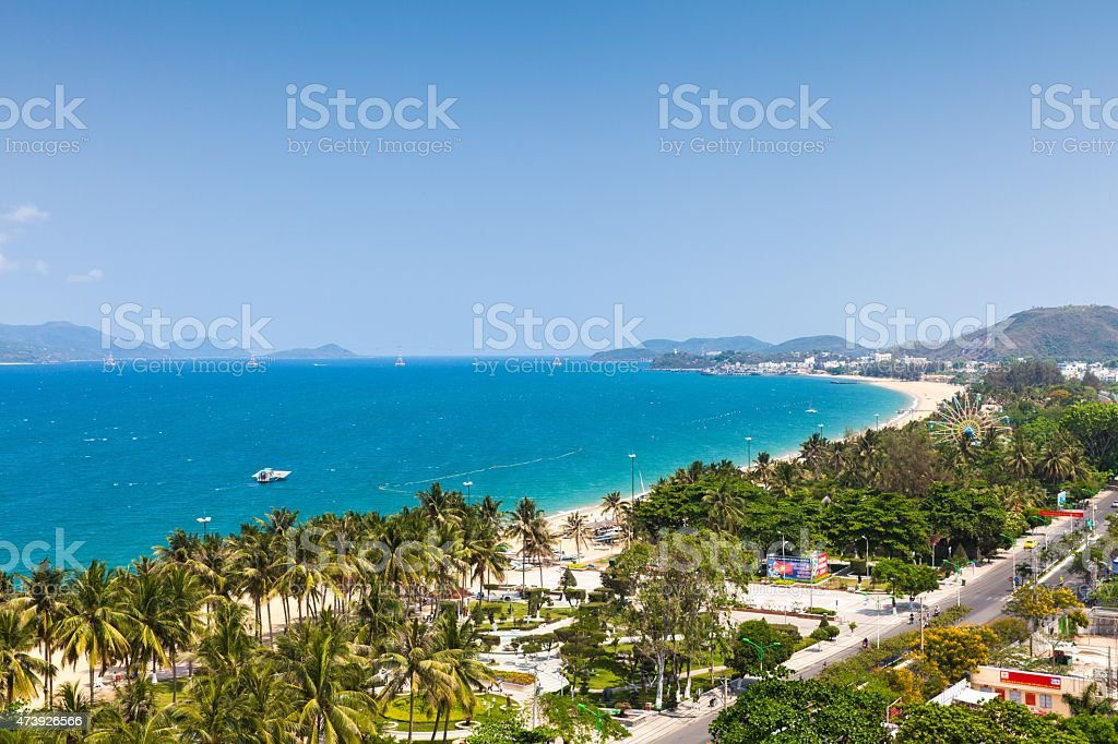 Aerial view over Nha Trang, Vietnam stock photo