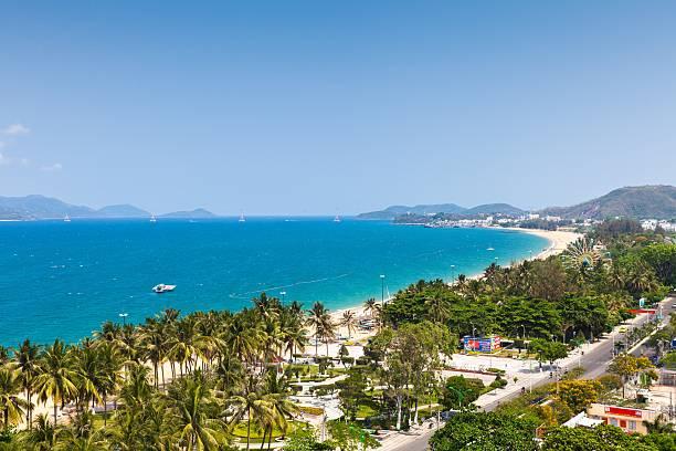 Aerial view over Nha Trang, Vietnam stock photo