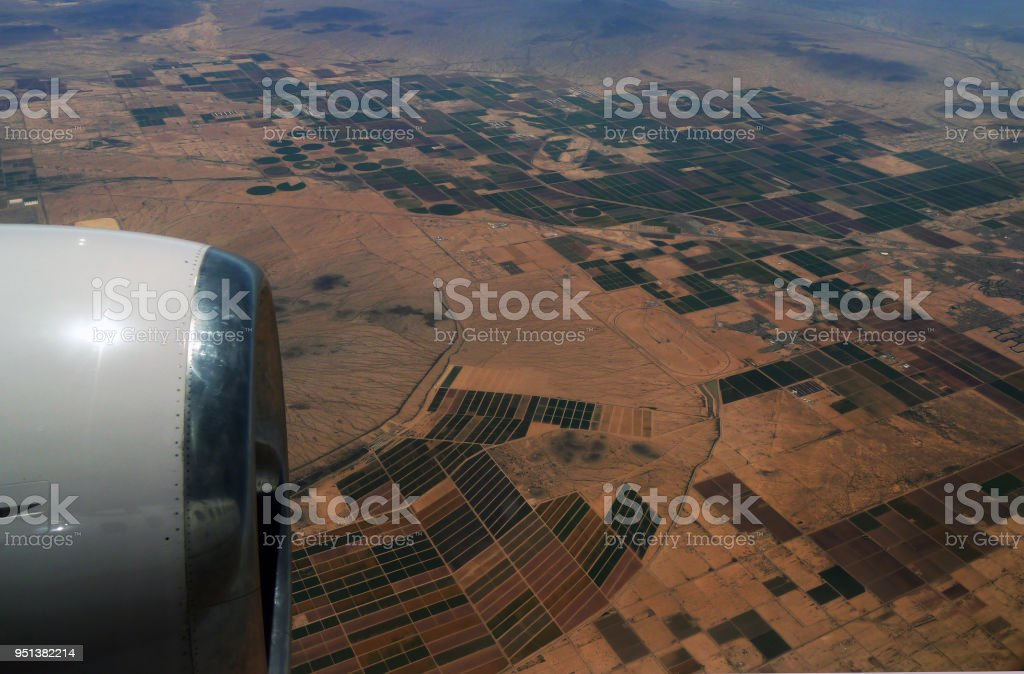 Aerial view over northern Mexico stock photo