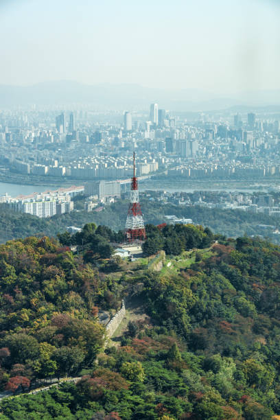 Aerial view over old city wall and Seoul, South Korea stock photo