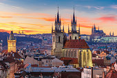 istock Aerial view over Old Town at sunset, Prague 505091588