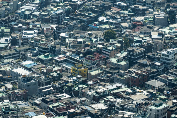 Aerial view over older buildings of Seoul, South Korea stock photo