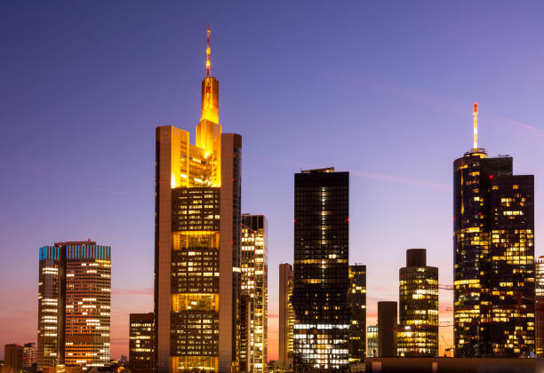 Aerial view over over Frankfurt at night