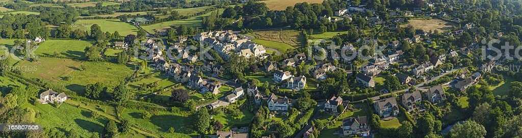 Aerial view over picturesque country homes summer landscape royalty-free stock photo