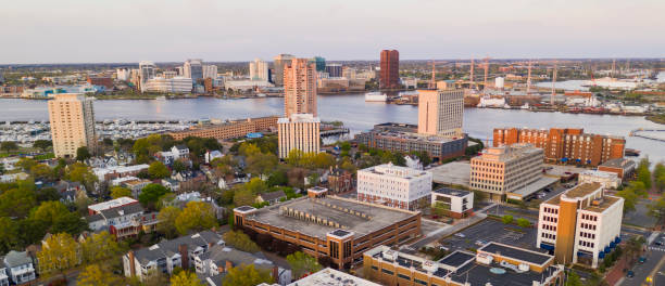 Aerial View over Portsmouth Virginia Across the Elizabeth River to Norfolk stock photo