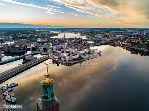 Aerial view over Riddarholmen in Stockholm. Town Hall in the foreground.